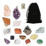 icyant Juego de Cristales Curativos, 15 Piedras de Chakra de Cristal incluye 7 Piedras de Cchakra en Bruto 7 Piedras Caídas 1 Racimo de Amatista Conjunto de Cristales Curativos