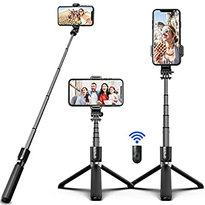 SYOSIN Bluetooth Selfie Stick Tripod, Extendable Aluminum Tripod Stand with Wireless Remote 360° Rotation Selfie Stick for iPhone 11/11 Pro Max/XS Max/XS/XR/X/8/7 Android Phone and Sports Camera GoPro by SYOSIN