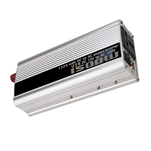 QWESHTU Inversor De Corriente De Voltaje, Convertidor Solar Portátil para Automóvil, Salidas De Ca De 1500 W CC 12 V A 110 V / 220 V Y Puertos De Carga USB Carga Al Aire Libre