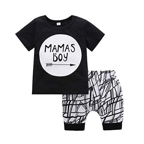 Hui.Hui Ensemble 3-24 Mois Nouveau-né Bébé Vêtements Garçon Fille Lettre Impression T-Shirt Chemise et Géométrique Imprimé Shorts Tenues Costume pour Enfants
