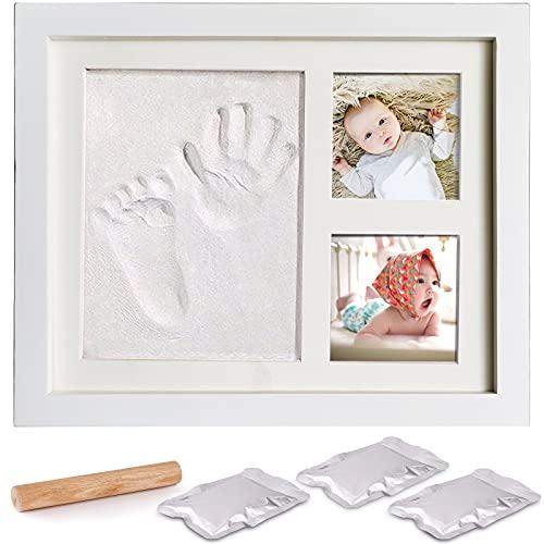 Amayga houten fotolijst met gipsafdruk, hand en voet gipsafdruk, set voetafdruk, geschenk voor baby's, pasgeborenen…