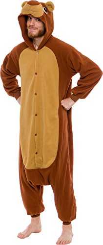 Silver Lilly Unisex Adult Pajamas - Plush One Piece Cosplay Teddy Bear Animal Costume (Brown, Medium)