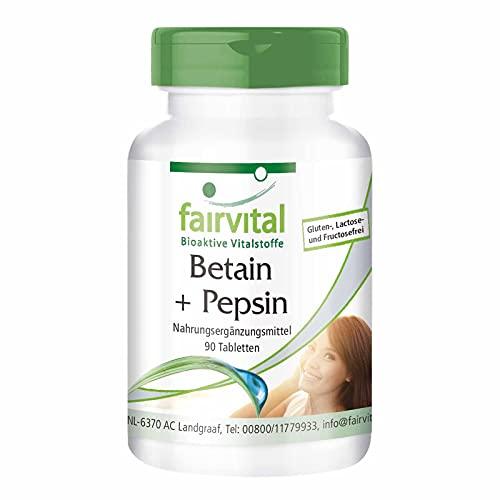 Betain HCl mit Pepsin - 650mg Betain Hydrochlorid pro Tablette - Verdauungsenzyme - 90 Tabletten - HOCHDOSIERT