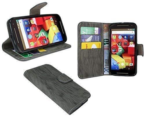 ENERGMiX Buchtasche kompatibel mit Motorola Moto G 2.Generation Hülle Case Tasche Wallet BookStyle mit Standfunktion in Anthrazit