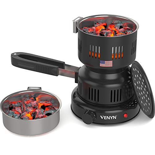 Venyn Hibachi Multipurpose Charcoal Burner - Starter for Hookah, Shisha, Nargila, BBQ Fire – Porcelain Coating – Smart Heat Control – Includes Pair of Free Tongs