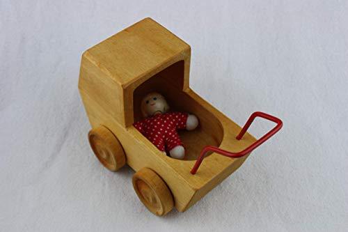Puppenwagen aus Birkenholz mit Puppenbaby
