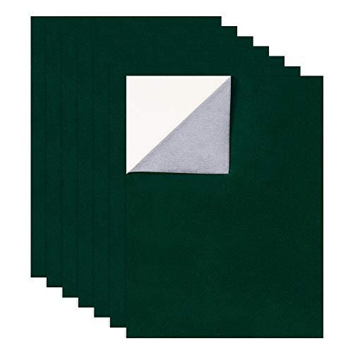 BENECREAT 12PCS 29x40cm selbstklebender Samtstoff (Dunkelgrün) A3 Kleberücken, langlebig und wasserabweisend, vielseitig einsetzbar, ideal für Kunst und Bastelzwecke