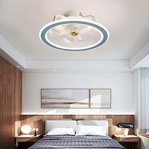 YUNLONG Ventilador De Techo LED con Luz Ventilador De Techo Ajustable De 3 Velocidades Iluminación con Control Remoto Anillo De Dormitorio Regulable Ventilador Moderno Luz De Techo,Azul