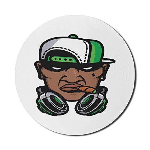 Alfombrilla redonda para ratón, alfombrilla para ordenador tipo chico, cultura hip hop, hombre de aspecto fresco con auriculares ahumados y una gorra, alfombrilla redonda de goma antideslizante con ba