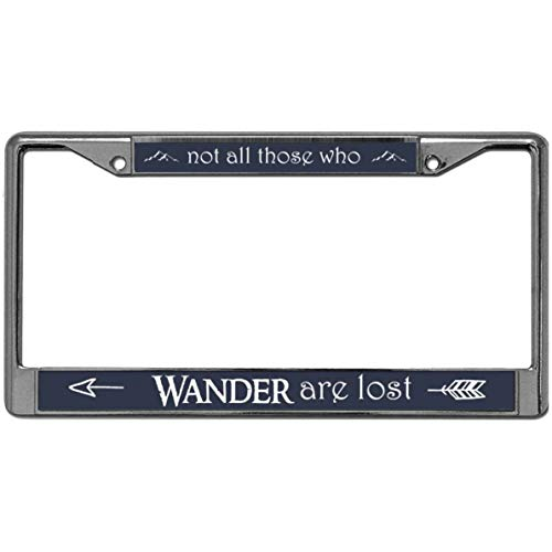 GND NOT All WHO Wander are Lost License Plate Frame,Christian Quotes Stainless Steel License Plate Frame Tag Holder with Anti-Theft Screw Caps