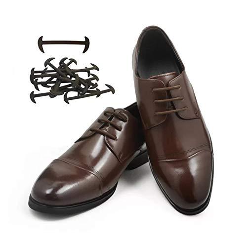 KGDUYH Shoelace - Juego de 12 cordones de cuero de silicona para zapatos de cordones de cordones de cordones elásticos de silicona para hombres y mujeres (color: marrón)