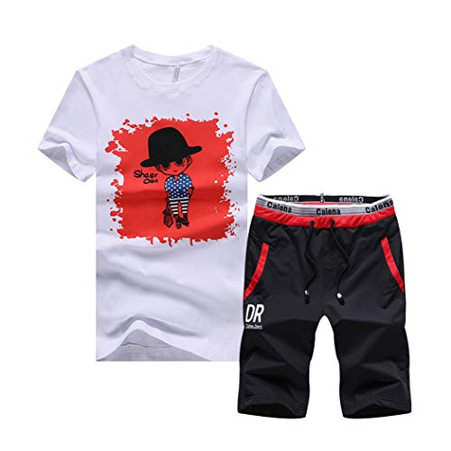 xzbailisha Mens 2 Piece Outfits Sportswear Cartoon Print Short Sleeve Shirt and Shorts Set Joggers Tracksuit Red