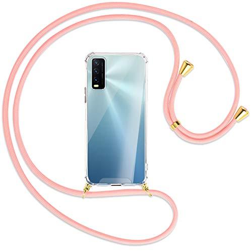 mtb more energy Collar Smartphone para Vivo Y20s, Vivo Y11s (6.51'') - Rosa/Oro - Funda Protectora ponible - Carcasa Anti Shock con Cuerda Correa
