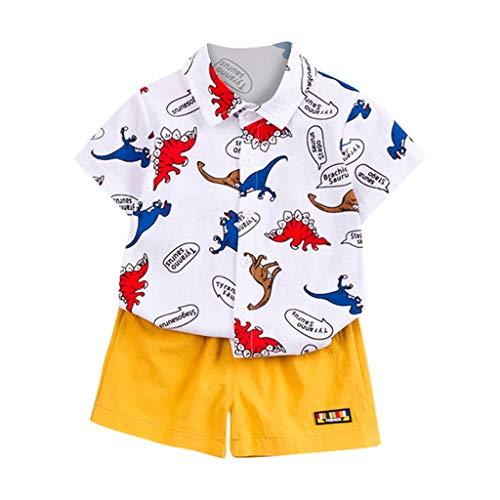 wuayi Ensemble pour Bébé Garçon, Chemise Imprimée Dinosaure à Manches Courtes pour Garçon + Short de Couleur Unie T-Shirt Tee-Shirt Vêtements 6 Mois - 3 Ans