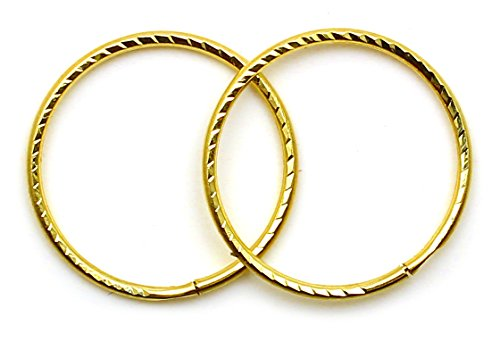 Arranview Jewellery 9ct Gold 14mm Diamond Cut Sleeper Hoops (1 Pair)
