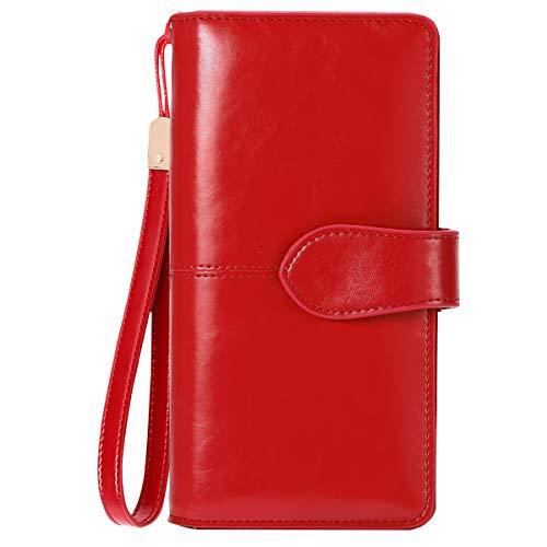 Geldbörse Leder Damen RFID Schutz BTNEEU Damen Portemonnaie Groß Viele Fächer, Geldbeutel Frauen Gross Leder mit Vielen Kartenfächer und Reißverschluss Goldbörsen Damen Lang XXL (Rot1)