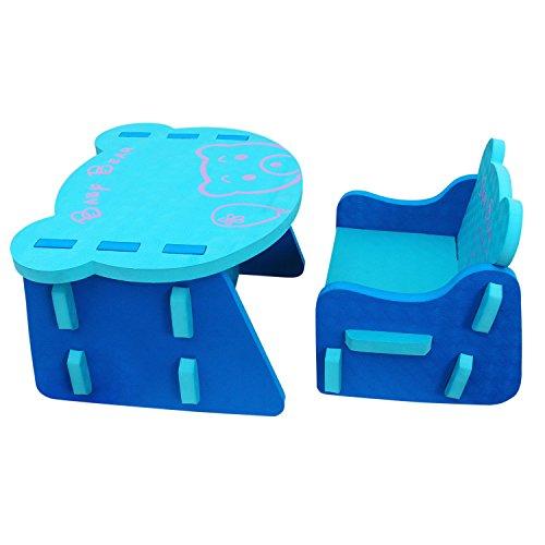meiqicool Juego de mesa y silla de puzzle de EVA para niños con diseño de animales nuevos azul ZY17QSL