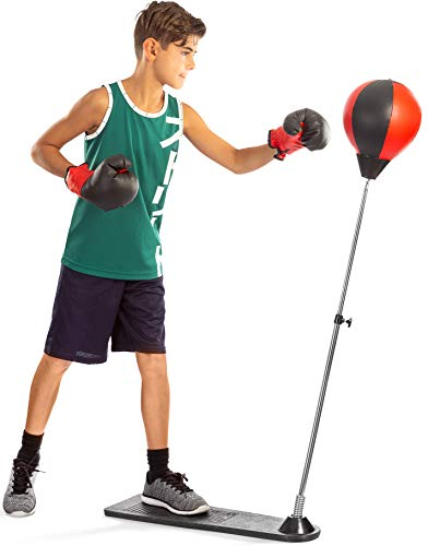 Punching Bag with Stand, for Kids & Adults, Height Adjustable - Freestanding Punching Ball Boxing Speed Bag - Great for MMA Training, Stress Relief & Fitness (Youth)