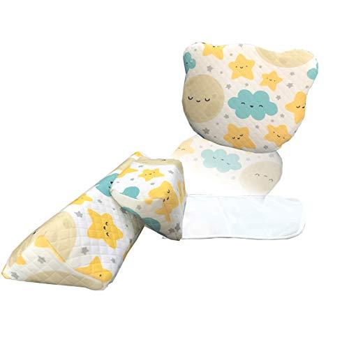 Baby Flat Head Pillow for Newborn,3D Memory Foam for Side Support Pillow with Cute Little Bear Shape Pillow (White Star)