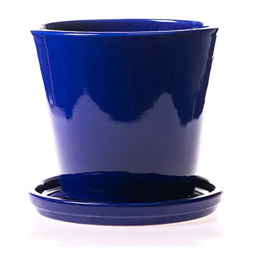 ALFAREROS DAMIAN CANOVAS Maceta DE Barro ESMALTADA EN Color Azul Cobalto+ Plato.Modelo CAÑA 2. Medidas 23X21