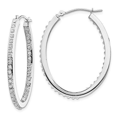 diamond2deal Damen 14K Weiß Gold Diamant Oval Scharnier Creolen (0.01ct H/SI2)