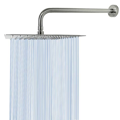 Rain Shower Head With Extension Arm, NearMoon Square Shower Heads, Large Stainless Steel Rainfall Showerhead-Waterfall Full Body Coverage (12 Inch Shower Head With 15 Inch Shower Arm, Brushed Nickel)