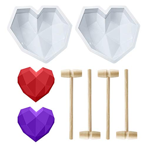 2 Pieces Diamond Heart Shaped Mousse Cake Mold Trays, 8.7 inch Safe Silicone Dessert Baking Pan Non - Sticky Mould with 4 Pcs Wooden Hammers for Valentine Chocolate Candy Making
