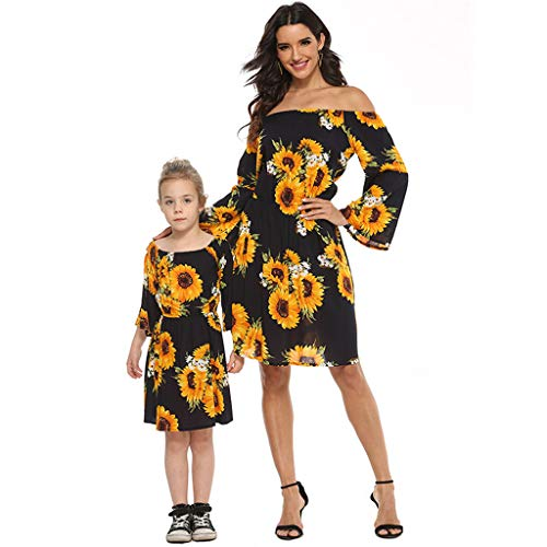 Mommy & Me Family Matching Set Summer Women Lady Sunflower Printing Off-Shoulder Long Sleeve Flower Dress S-L2 Black