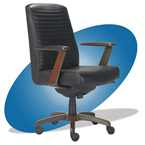 La-Z-Boy Emerson Modern Executive Office Chair with Rich Wood Inlay, Ergonomic High-Back Lumbar Support, Bonded Leather, Black -  Millwork Holdings Co., Inc., CHR10081B