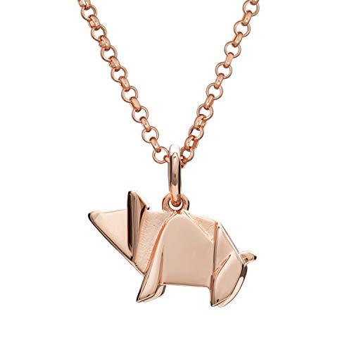 Lily Charmed Halskette Sterling-Silber 925 vergoldet mit Rotgold Origami Pig
