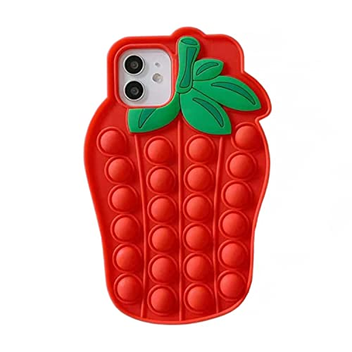 Interesting Strawberry Case for iPhone 6s Plus, Soft Silicone 3D Cartoon Cute Animal Cover, Kids Girls Women Bling Glitter Unique Kawaii Character Fashion Fun Interesting 3D for Apple iPhone 6 Plus