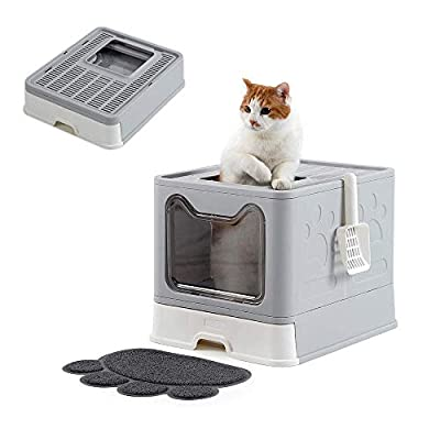 SPRICHIC Foldable Cat Litter Box - Top Entry/Front Entry Large Enclosed Litter Box with Cat Litter Scoop, Gray