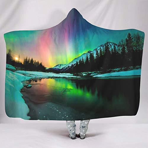 DOGCATPIG Sudadera de microfibra estándar de gran tamaño con capucha y paisaje de Aurora Super Cálido para una talla que se adapta a todos los blancos 127 x 152 cm