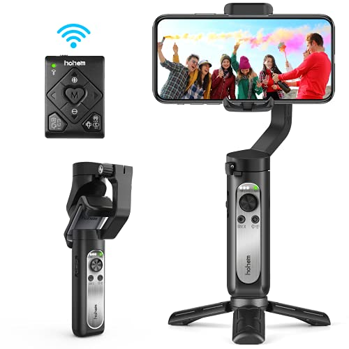 3-Axis Gimbal Stabilizer for Smartphone - Handheld Phone Gimbal w/ Remote Auto Inception Dolly Zoom Foldable Gimbal for iPhone 12 11 Pro Max Samsung S20 for YouTube Vlog - hohem iSteady X2 (Black)