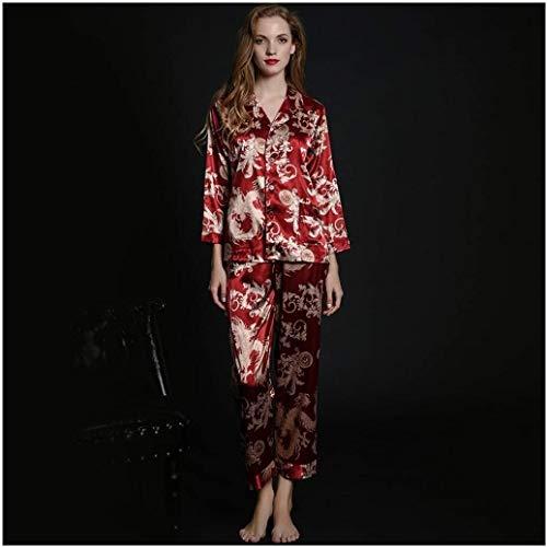 SCRT Pijama Pareja de recién casados Traje Suspender ropa de dormir conjuntos de pijamas for hombres Batas Albornoz de manga larga sección delgada de seda del hielo boda pijama de la mujer atractiva