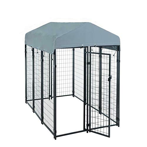GXK Hundezwinger Hundekäfig Metall Massiv Zaun 185x117x185cm mit Dach Elemente