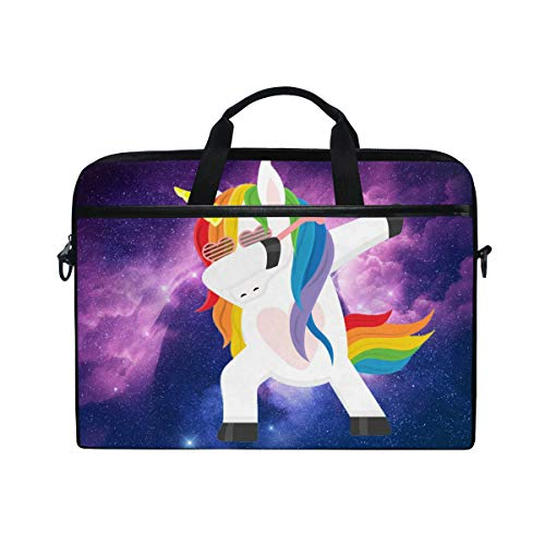 MRMIAN Funny Unicorn Dabbing Laptop Case 13 14 15 inch Shoulder Bag Crossbody Briefcase Messenger Sleeve for Women Men Girls Boys with Shoulder Strap Handle, Back to School Gifts for Her Him