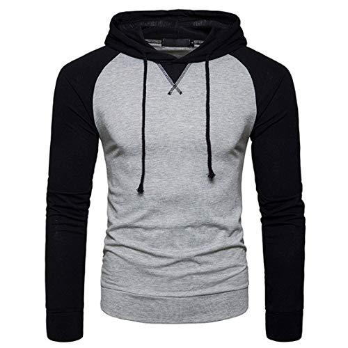 MENHG Mens Hip Hop Raglan Contrast Color Hoody Hooded Pullover Sweater Sweatshirt Jacket Men Long Sleeve Drawstring Warm Lightweight Fleece Jumper Sports Fitness Hoodies Tops Blouse Cardigan Shirt