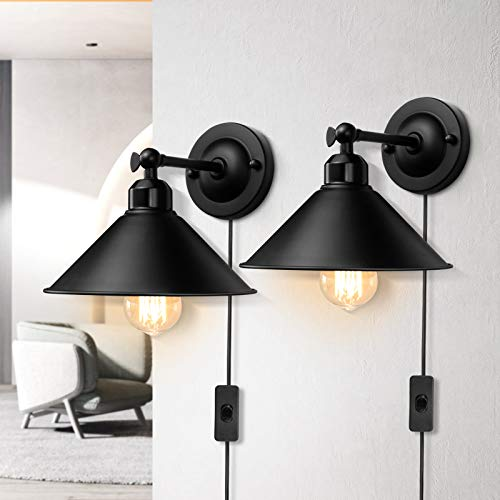 Plug in Wall Sconce, Black Antique Swing Arm Industrial Vintage Wall Lamp Fixture, Plug in Wall Light with On Off Switch E26 Base for Restaurants Bathroom Dining Room Kitchen Bedroom 2 Pack