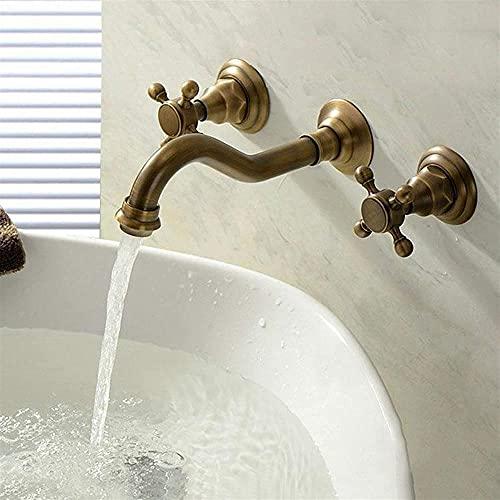 MLFPDXC-Grifo de pared en cascada grifo del fregadero del baño grifo mezclador de latón de una manija tanque de agua fría y caliente diseño estilo grifo mezclador alta rotación