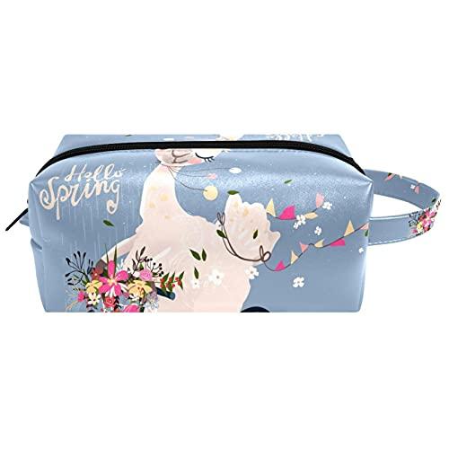 Borse da Toilette,Bouquet di fiori del cestino della bici della ghirlanda di Alpaca ,make up borse da viaggio,Beauty Case da Viaggio,Cosmetici Trucco Pochette da Toilette Organizer