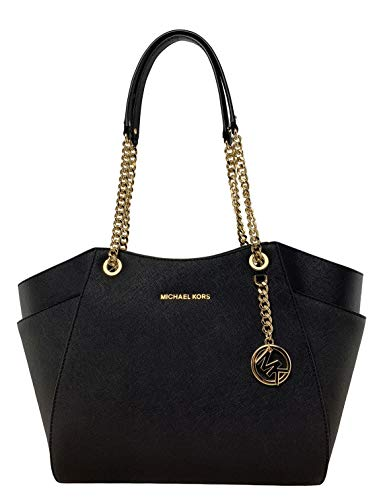 "Saffiano leather Gold-tone hardware Double handles with leather & chains with 10""shoulder drop Interior: 1 zippered pocket & 4 slip pockets Measurement: 11"" -14"" (L) x 10.5"" (H) x 4.5"" (D)"