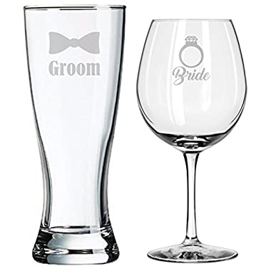 Bride and Groom Glasses - Wedding Toasting Set of 2 - Couples Gifts - Engagement - Bridal Shower Diamond Engagement Ring - Birthday Gift