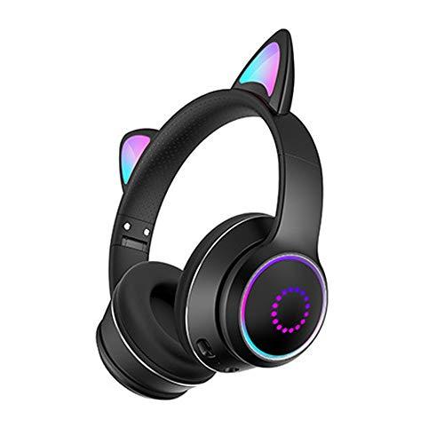 Kabellose Kopfhörer, Bluetooth, LED-Licht, 7 Farben, blinkendes Katzenohr, über dem Ohr, sicher, faltbar, Stereo, mit Mikrofon für iSmartphones/Laptop/PC/TV