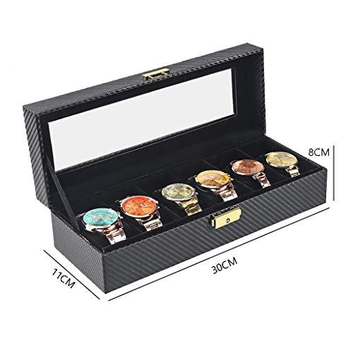 ZYFXZ Sicherheitsschuhe Watch Box, Carbon-Faser-Uhr-Anzeigen-Aufbewahrungsbehälter, Glas Top-Uhr-Finishing-Sammlung Display Box-Armband Schmuck-Box - abschließbare Buckle Arbeitsschuhe (Color : A)