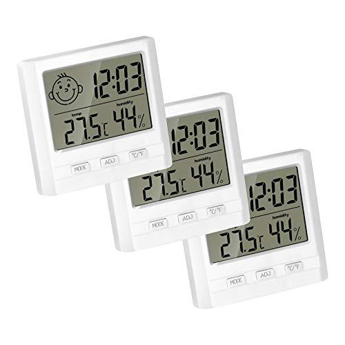 ROMANTIC BEAR 3PCS Digital Hygrometer Innenthermometer Feuchtigkeitsmonitor mit [Mini Style] Temperatur Feuchtigkeitsmesser Großes LCD-Display für Home Office Nursery (Weiß)