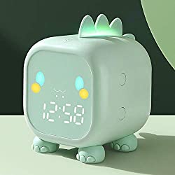Kids Alarm Clock with Night Light Snooze Nap Timer Temperature,Children Sleep Trainer,Alarm Clock for Kids Bedroom,Boys Girls Cute Dinosaur Digital Bedside Clock(Green)