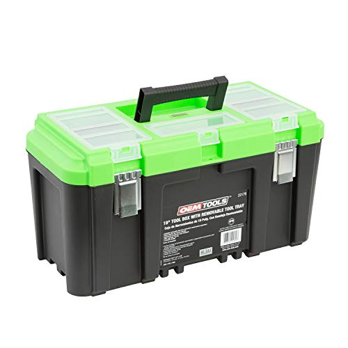OEMTOOLS 22160 19 Inch Tool Box with Removable Tool Tray, Small Parts Organizer in Lid, Heavy Duty Tool Box with 2 Metal Latches, Rated up to 40 Lbs., Green