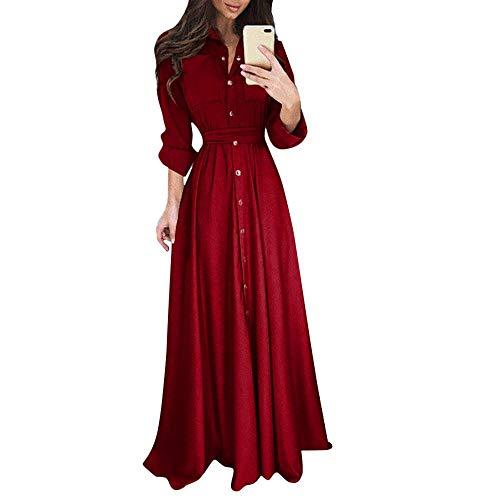 UYSDF Fashion Kleidung Damen Dame Beiläufig Mode Lange Ärmel Revers Maxi Lange Kleid Solide Hemd Kleid