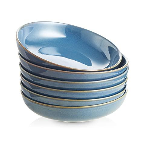 Selamica Ceramic 8 inch pasta bowls, 26 Ounce large serving porcelain salad soup bowls, dishwasher microwave safe, set of 6(Ceylon Blue)
